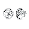 Silver Stud Earrings - Clover