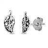 Silver Stud Earrings - Leaf