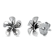 Silver Stud Earrings - Plumeria