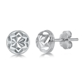 Silver Stud Earrings - Half Ball