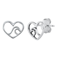 Silver Stud Earrings - Heart & Wave