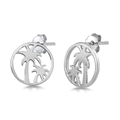Silver Stud Earrings - Palm Trees