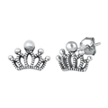 Silver Stud Earrings - Crown