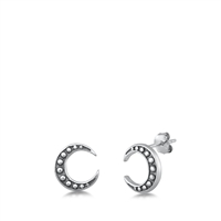 Silver Stud Earrings - Crescent Moon