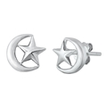 Silver Stud Earrings - Moon and Star