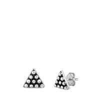 Silver Stud Earrings - Bali Triangle