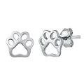 Silver Stud Earrings - Paw Print