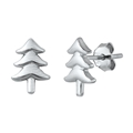 Silver Stud Earrings - Christmas Tree