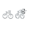 Silver Stud Earrings - Bicycle