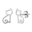 Silver Stud Earrings - Cat