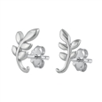 Silver CZ Earrings - Branch Leaves