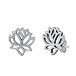 Silver Stud Earrings - Lotus Flower