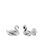 Silver Stud Earrings - Swan