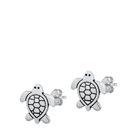 Silver Stud Earrings - Turtle