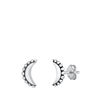 Silver Stud Earrings - Bali Moon