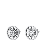 Silver Stud Earrings - Compass