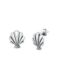 Silver Stud Earrings - Seashell