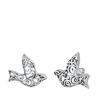 Silver Stud Earrings - Filigree Sparrow