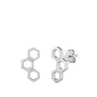 Silver Stud Earrings - Honeycomb