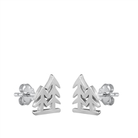 Silver Stud Earrings - Trees