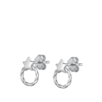 Silver Stud Earrings - Star Wreath