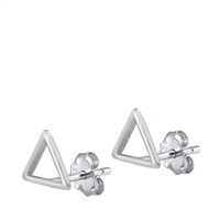 Silver Stud Earrings - Triangle