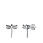 Silver Stud Earrings - Dragonfly