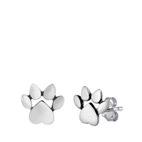 Silver Stud Earrings - Paw Prints