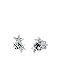 Silver Stud Earrings - Stars