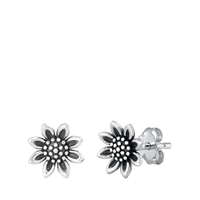 Silver Stud Earrings - Sunflower