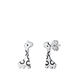 Silver Stud Earrings - Giraffe