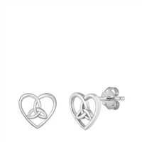 Silver Stud Earrings - Celtic Heart
