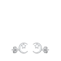 Silver Stud Earrings - Moon & Star