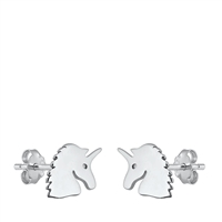 Silver Stud Earrings - Unicorn
