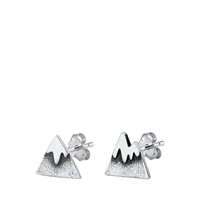 Silver Stud Earrings - Mountain