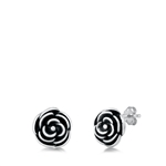 Silver Stud Earrings - Rose