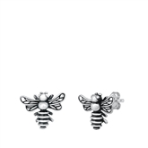 Silver Stud Earrings - Bee