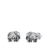 Silver Stud Earrings - Elephant