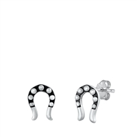 Silver Stud Earrings - Horseshoe