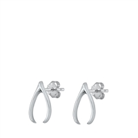 Silver Stud Earrings - Wishbone