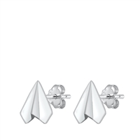 Silver Stud Earrings - Paper Airplane