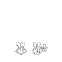 Silver Stud Earrings - Bumble Bee