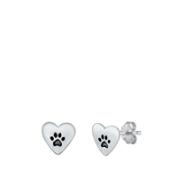 Silver Stud Earrings - Paw & Heart