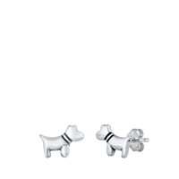 Silver Stud Earrings - Dog