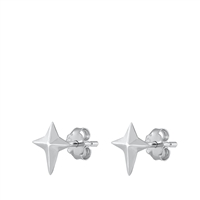Silver Stud Earrings - North Star