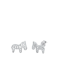 Silver Stud Earrings - Zebra