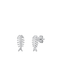 Silver Stud Earrings - Fish Skeleton
