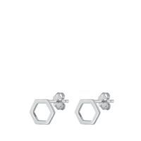 Silver Stud Earrings - Hexagon