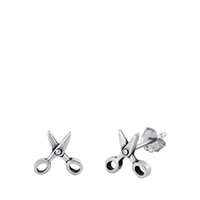 Silver Stud Earrings - Scissors