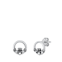Silver Stud Earrings - Claddaugh Wreath